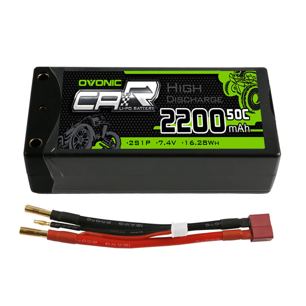 Ovonic 2S 2200mAh 7.4V 50C Hardcase Short LiPo Battery with 4mm Bullet for RC Car