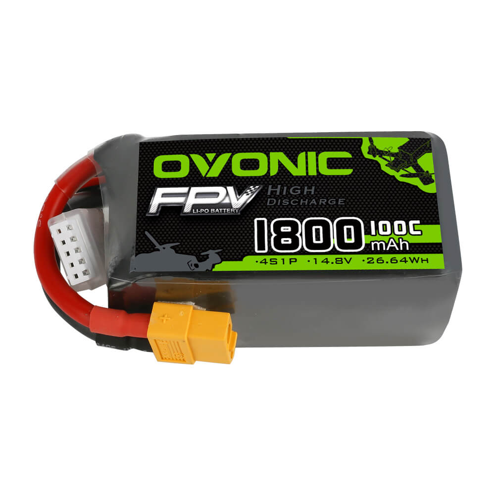 Ovonic 1800mah 4S 14.8V 100C Lipo Battery Pack with XT60 Plug for quad FPV