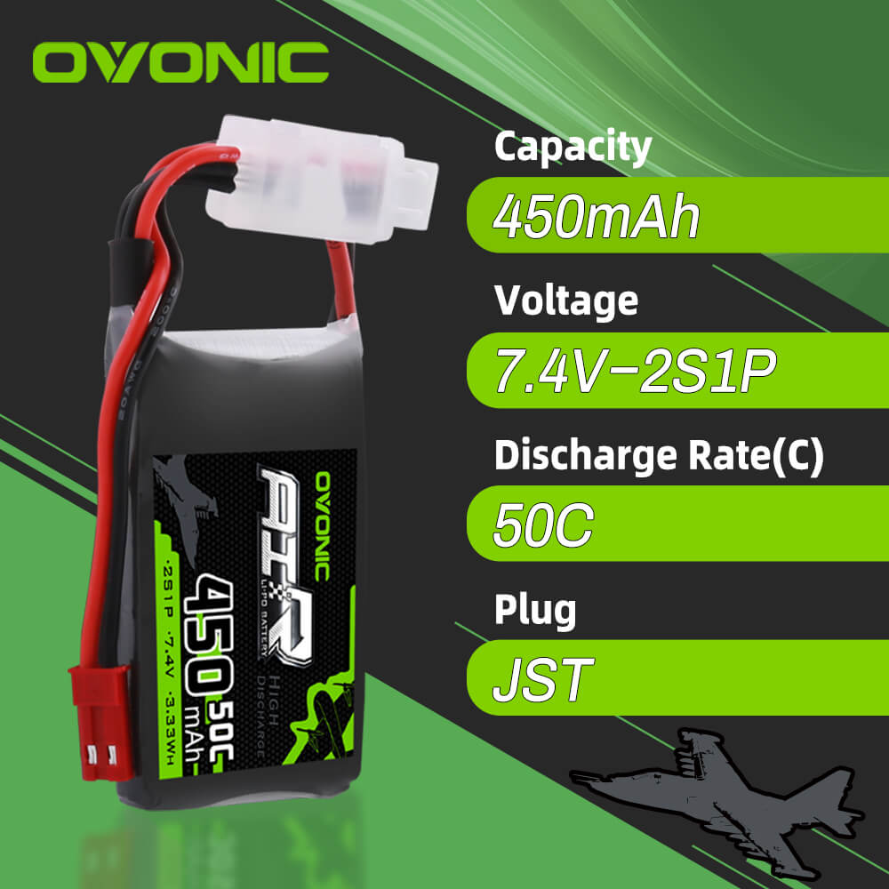OVONIC 50C 7.4V 2S 450mah LiPo Battery Pack for RC Heli Tiny Airplane