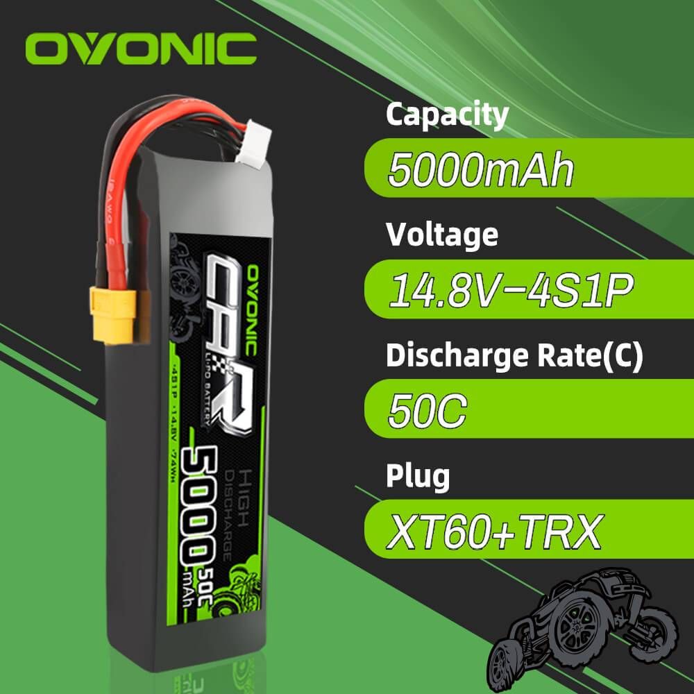 OVONIC 14.8V 5000mAh 4S 50C Lipo Battery with XT60 & Trx Plug for X-Maxx