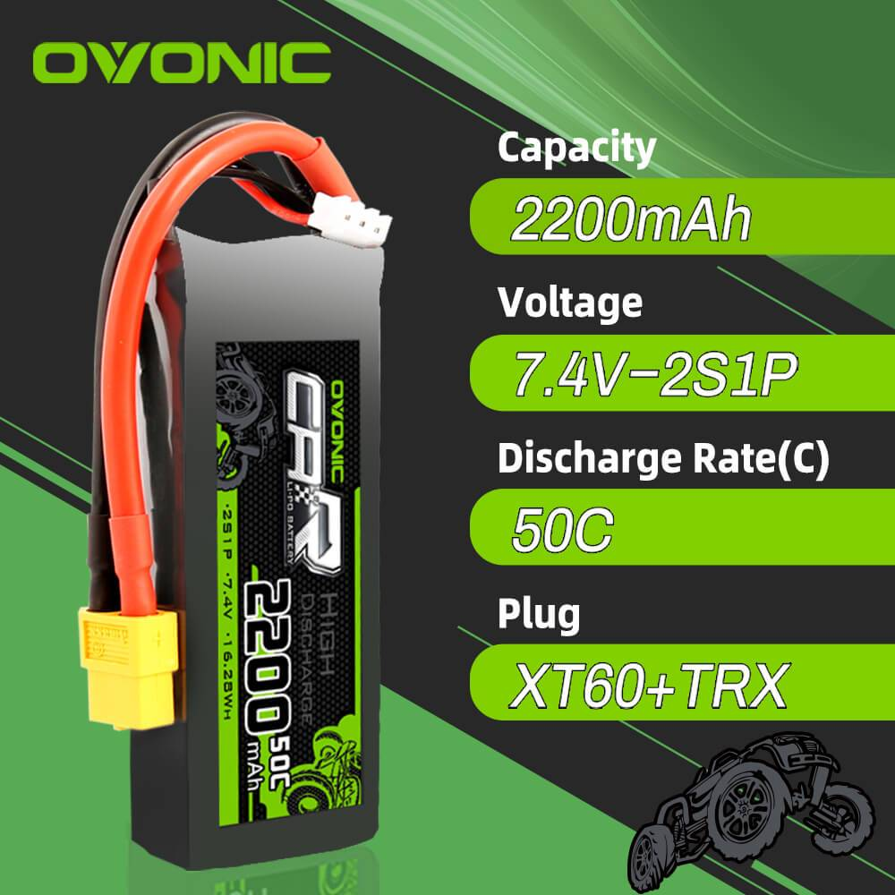 OVONIC 7.4V 2200mAh 2S 50C LiPo Battery with XT60 & Trx Plug for 1/16 1/18 Traxxas Cars