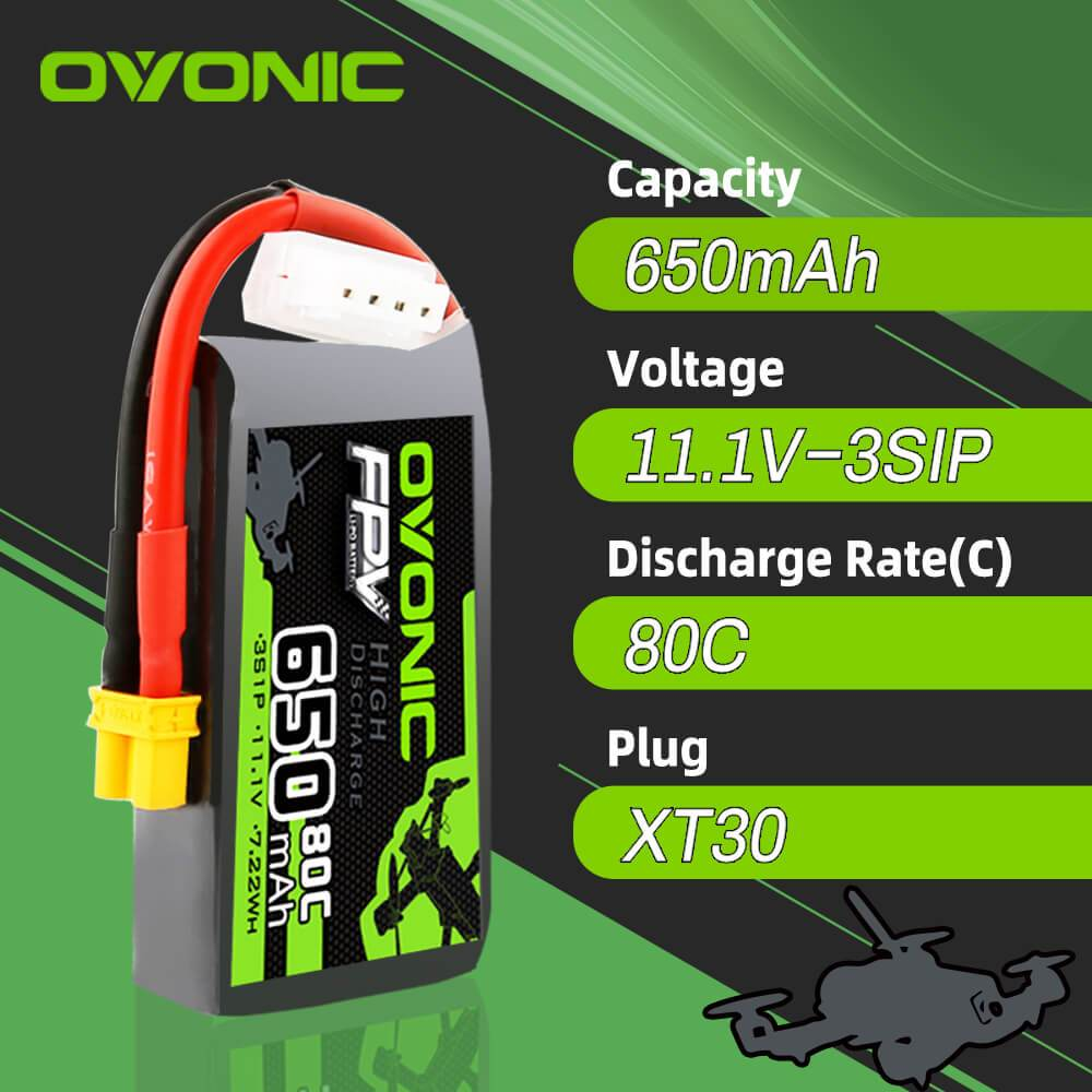 Ovonic 650mah 3S 11.1V 80C Lipo Battery Pack with XT30 Plug for FPV