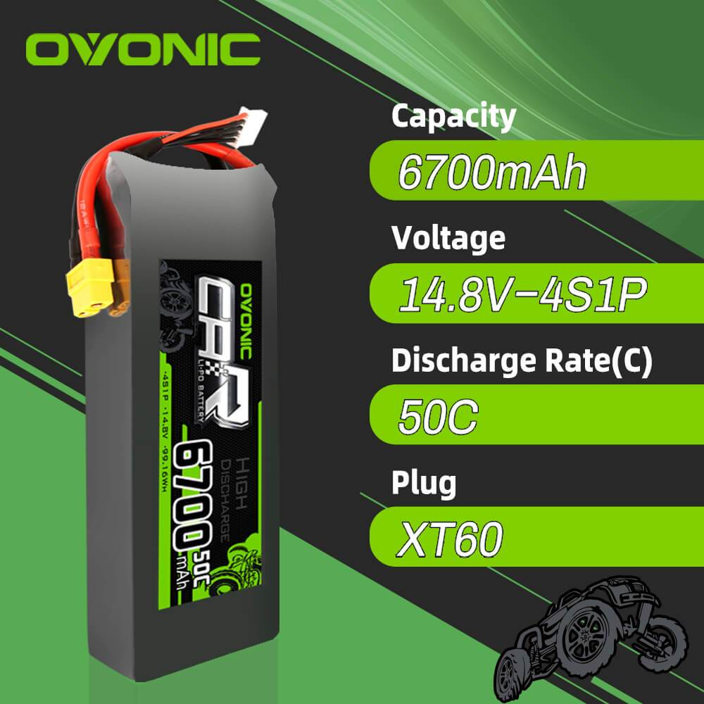 OVONIC 14.8V 50C 4S 6700mAh LiPo Battery with XT60 Plug for X-MAXX