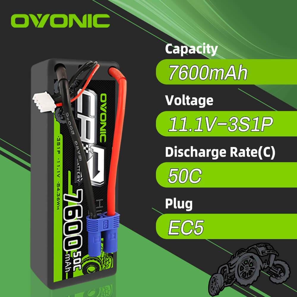 OVONIC 11.1V 7600mAh 3S 50C Hardcase Lipo Battery with EC5 Plug for Arrma 1/8 1/7 1/10 car