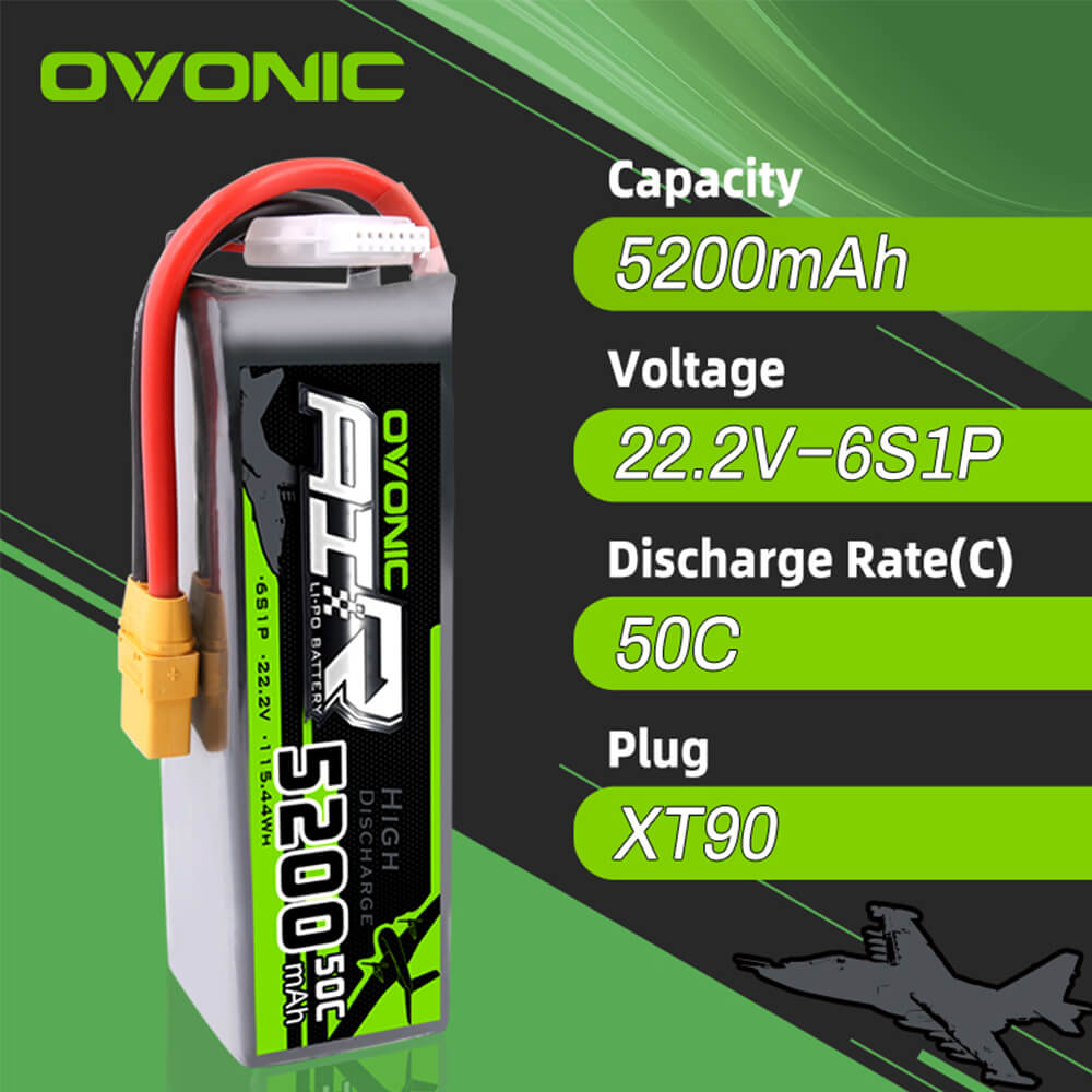 Ovonic 5200mAh 6S 22.2V 50C LiPo Battery Pack with XT90 Plug for X-Class Drone Airplane & Arrma 6S Truck
