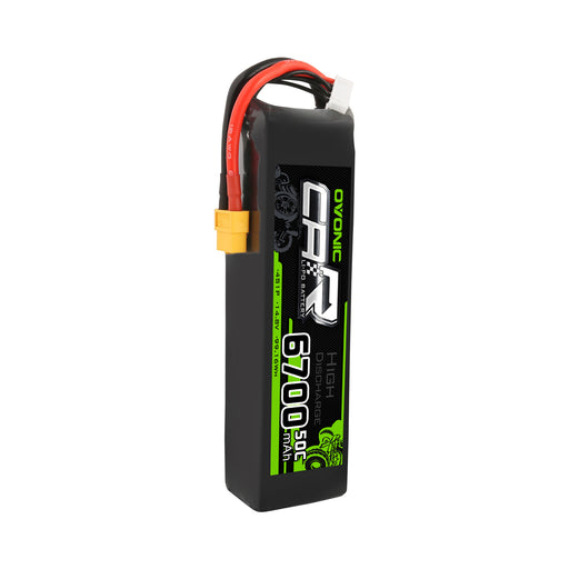 OVONIC 14.8V 50C 4S 6700mAh LiPo Battery with XT60 & Trx Plug for X-MAXX