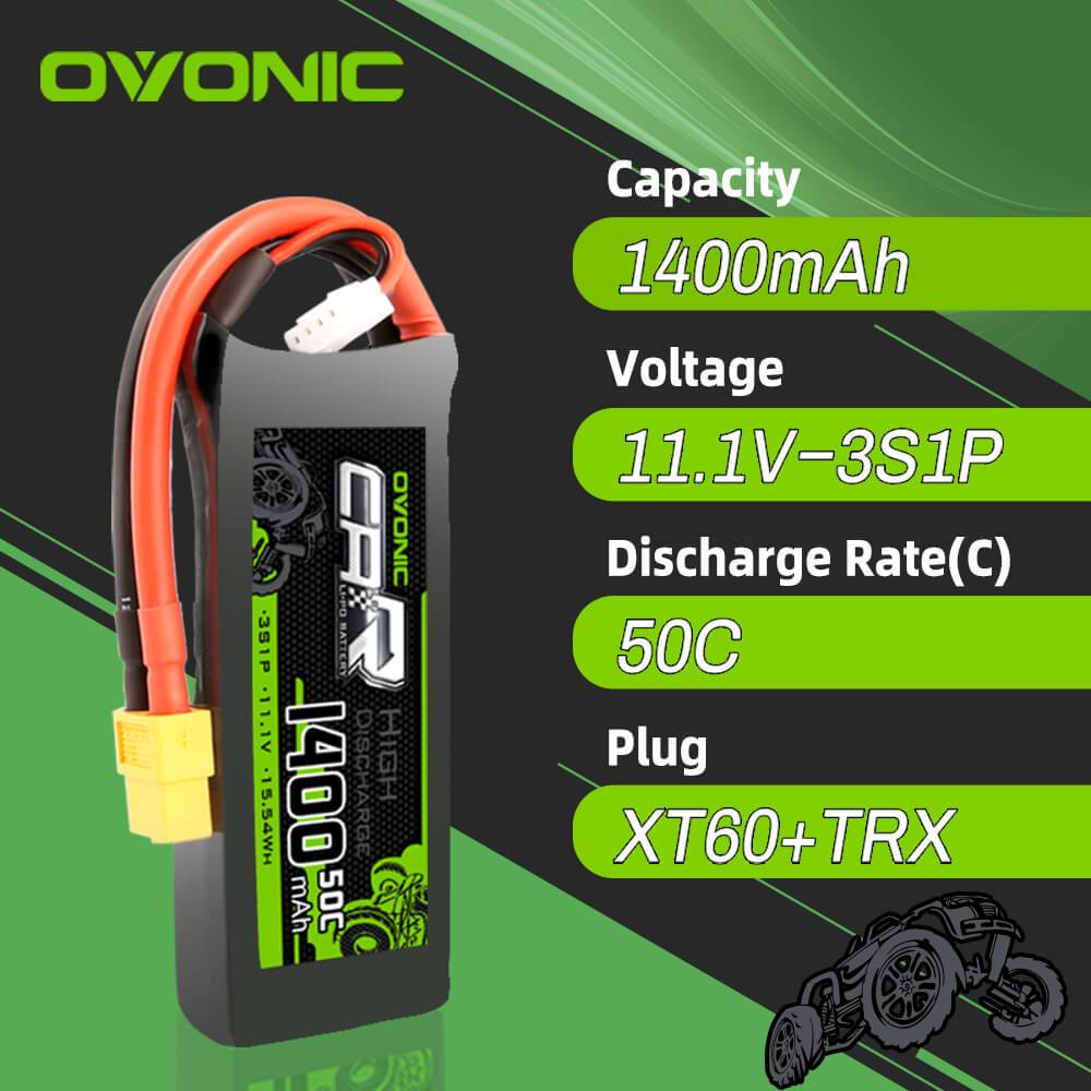 OVONIC 11.1V 1400mAh 3S 50C LiPo Battery with XT60 & Trx Plug for 1/16 Traxxas Cars