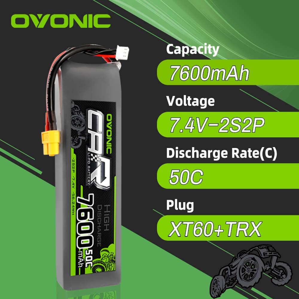 OVONIC 7.4V 7600mAh 2S2P 50C LiPo Battery with XT60 & Trx Plug for RC Car Trucks