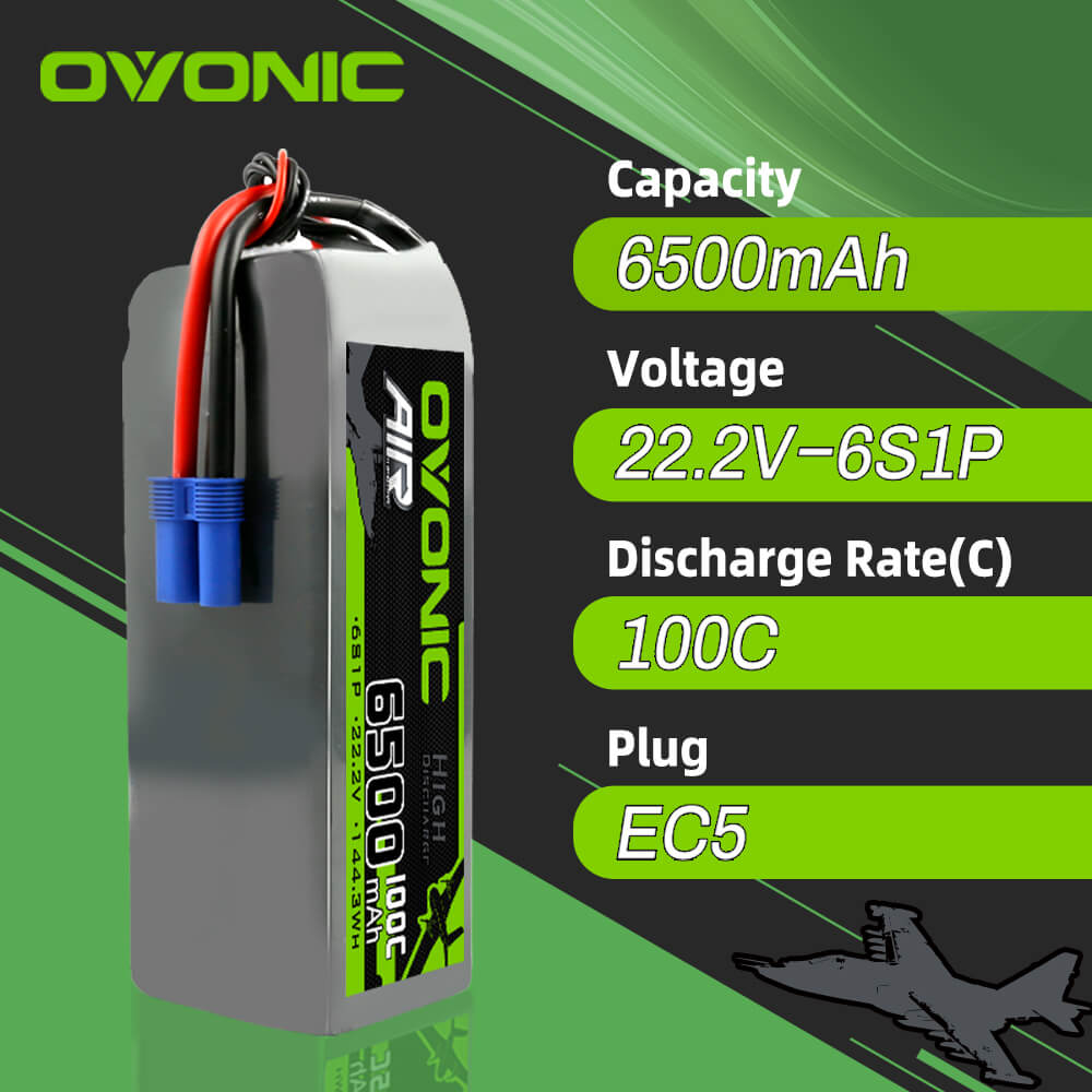 Ovonic 100C 22.2V 6500mah 6S1p Lipo Battery with EC5 Plug for EDF Multirotors ARRMA 1/8 car