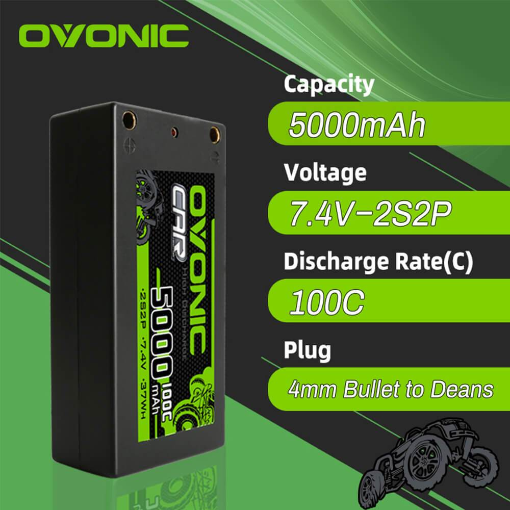Ovonic 100C 7.4V 5000mAh 2S2P Hardcase Shorty LiPo Battery with 4mm Bullet for 1/10 RC Buggy Truck