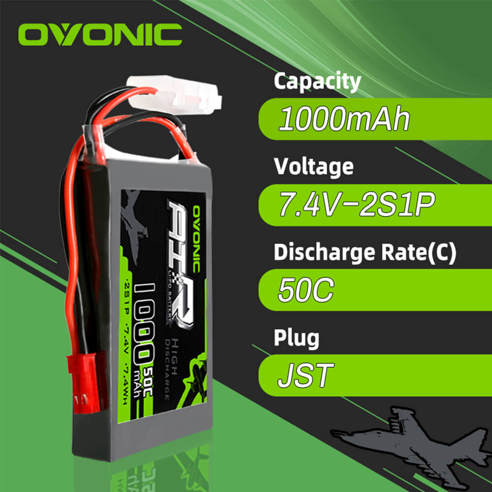 Ovonic 50C 7.4V 2S 1000mAh LiPo Battery Pack with JST Plug for RC Airplane Small Helicopter