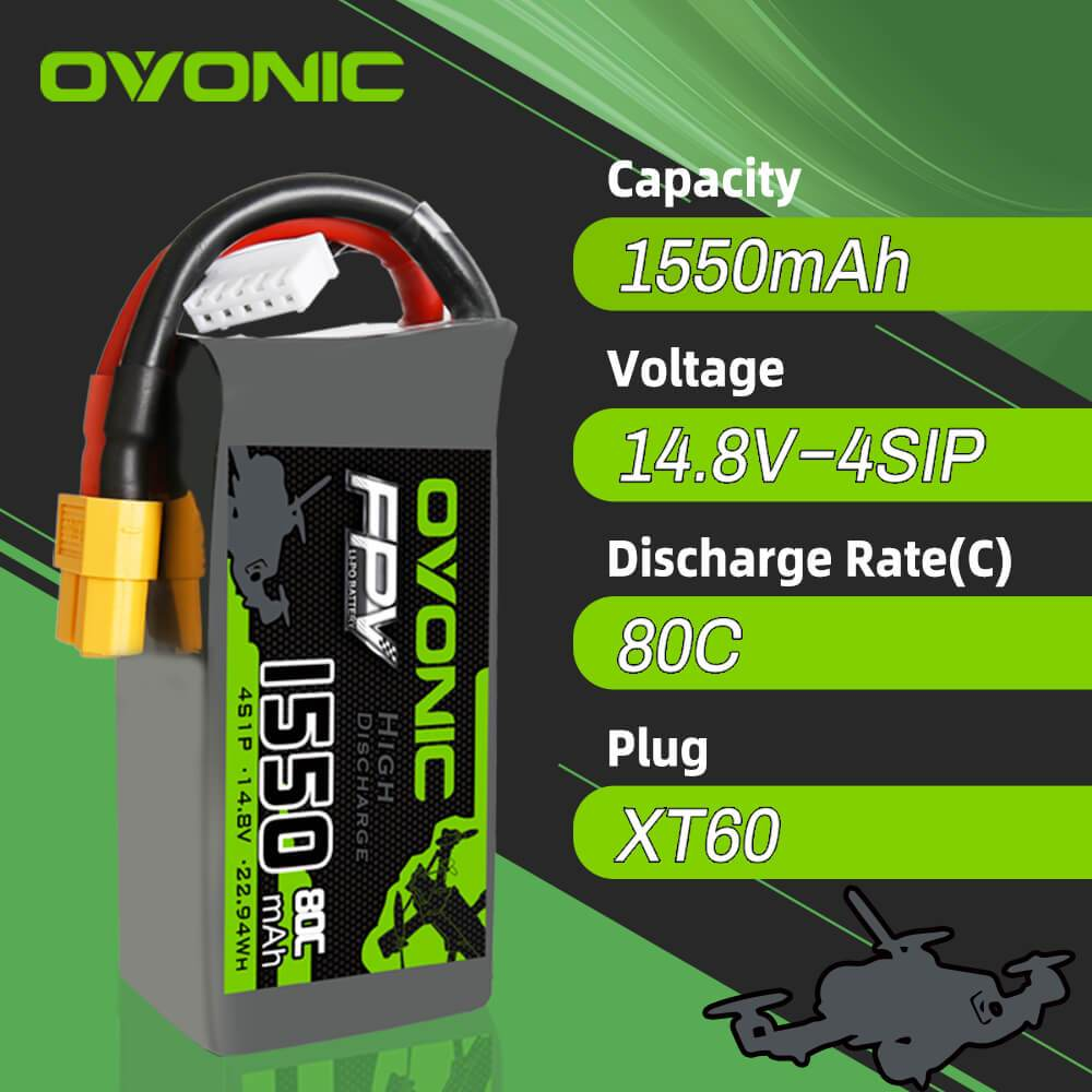 OVONIC 1550mAh 4S 14.8V 80C LiPo Battery XT60 Plug for FPV
