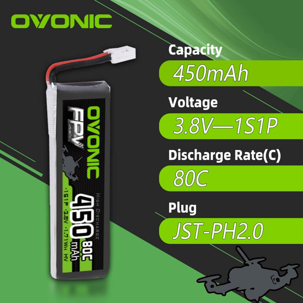 Ovonic 450mah 1S 3.8V 80C HV Lipo Battery Pack with JST PH2.0 for Tinyhawk FPV Drone[4PCS]