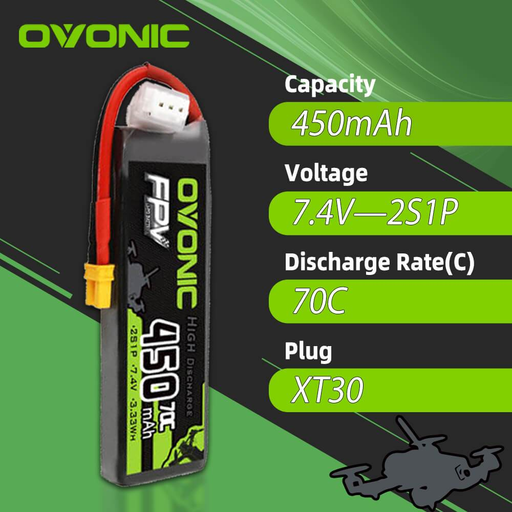 Ovonic 7.4V 450mah 2S1p 70C Lipo Battery Pack with XT30 Plug for small FPV whoops[4PCS]