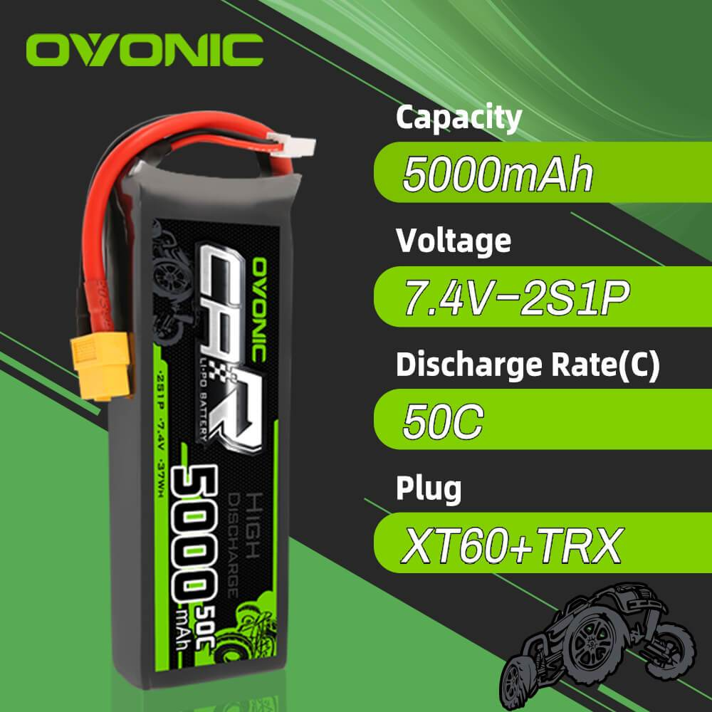 OVONIC 7.4V 5000mAh 2S 50C LiPo Battery with XT60 & Trx Plug for RC Car Trucks