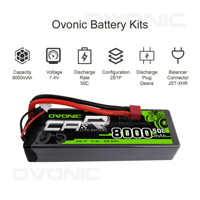 OVONIC 8000mAh 2S 7.4V 50C Hardcase LiPo Batteries Pack with Deans Plug for 1/10 Size RC Car