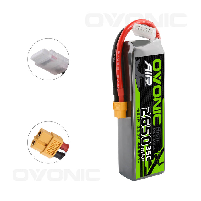 OVONIC 1300mAh 6S 22.2V 100C LiPo Battery with XT60 for FPV Freestyle