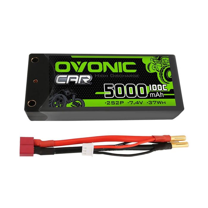 Ovonic 50C 2S 5000mAh 7.4V  Hardcase Shorty LiPo Battery with 5mm Bullet for 1/10 RC Buggy Truck