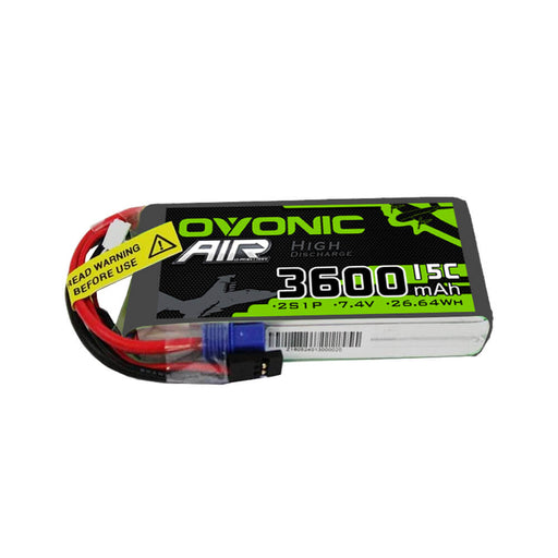 Ovonic 7.4V 3600mah 2S 15C Lipo Battery Pack for RC model& receiver - EC3 & Receiver Plug