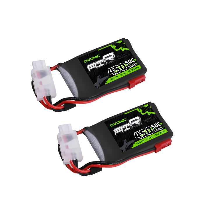 OVONIC 50C 7.4V 2S 450mah LiPo Battery Pack for RC Heli Tiny Airplane [2-Pack ] - Ovonicshop