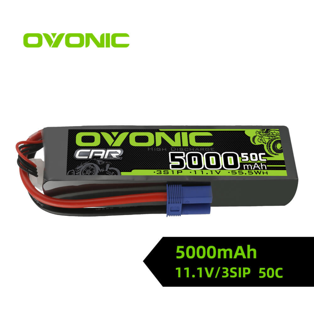 Ovonic 3S 5000mAh 50C 11.1V LiPo Battery Pack for 3s& 6s ARRMA Car - EC5 Plug