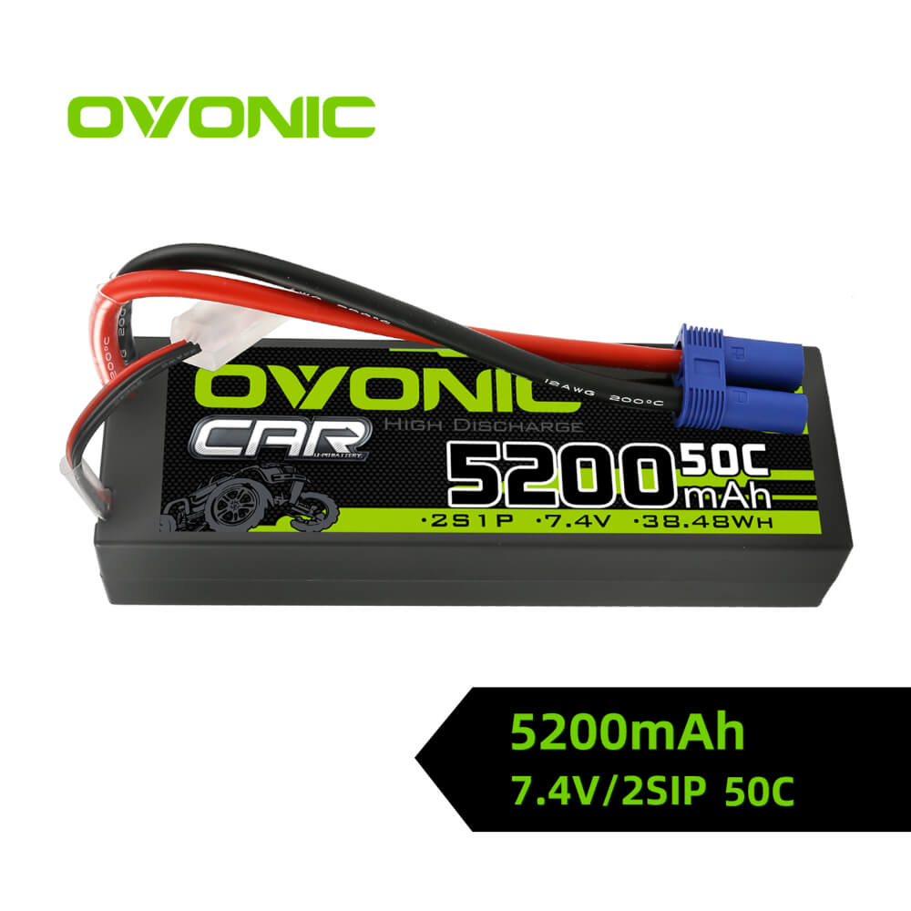 Ovonic 2S 5200mAh 50C 7.4V Hardcase LiPo Battery for 1/10 ARRMA Car- EC5 Plug