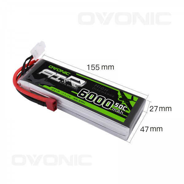 OVONIC 11.1V 50C 3S 6000mAh LiPo Battery Pack with Deans/T Plug for RC Car
