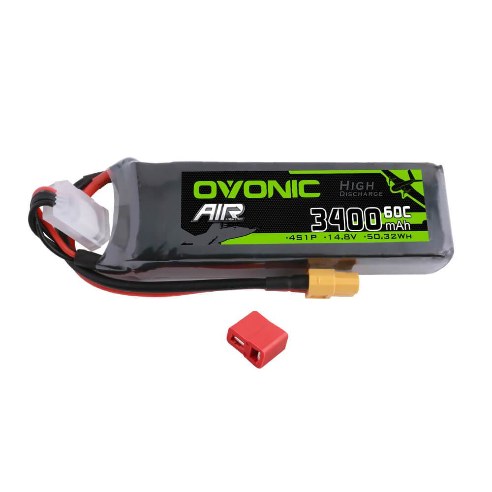 Ovonic 60C 4S 3400mAh 14.8V LiPo Battery for RC Airplane EDF - XT60 & Deans Plug