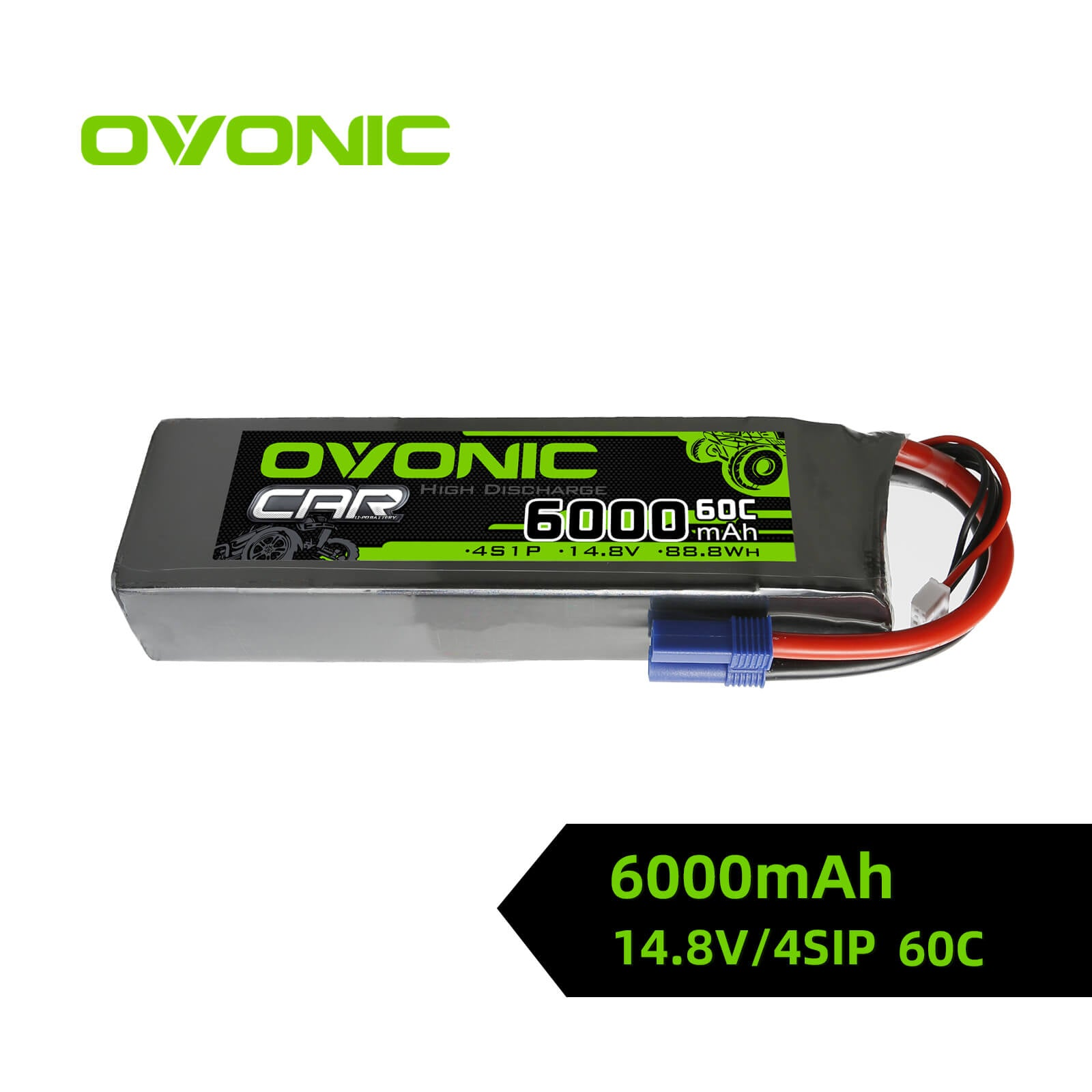 Ovonic 60C 14.8V 4S LiPo 6000mAh Battery Pack for 1/5 to 1/8 car- EC5 Plug