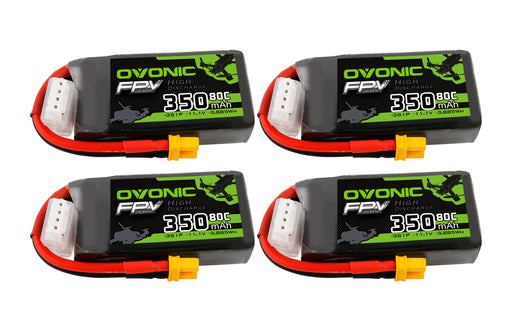 Ovonic 350mah 3S 11.1V 80C Lipo Battery Pack with XT30 Plug for FPV 80-130mm[4PCS]