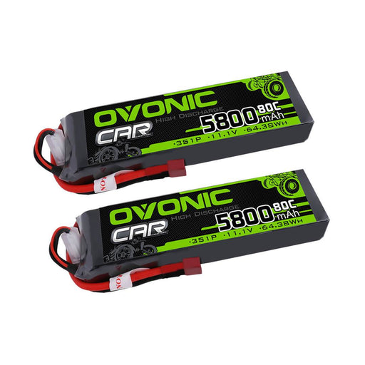 Ovonic 80C 3S 5800mAh 11.1V LiPo Battery for 1/10 Traxxas Losi Car(2packs) - Deans Plug