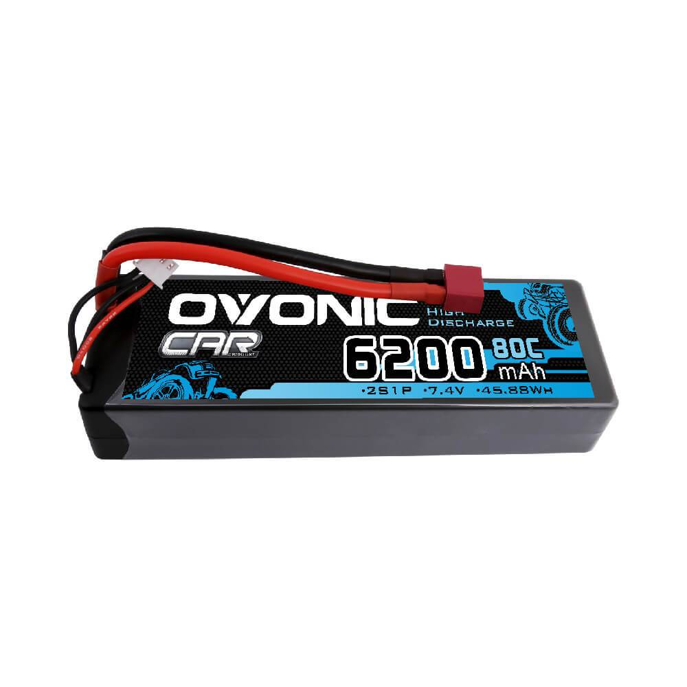 Ovonic 80C 6200mAh 2S1P 7.4V Hardcase with Deans Plug LiPo Battery for RC CAR