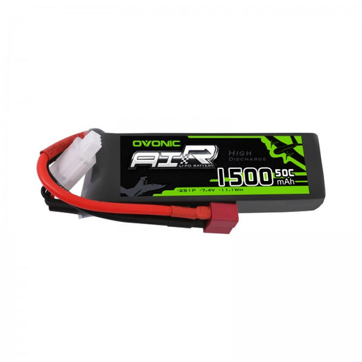 Ovonic 50C 7.4V 2S 1500mAh LiPo Battery Pack with T Plug for 1/14 1/18 RC Car
