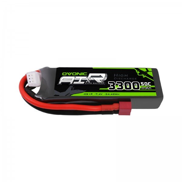 OVONIC 7.4V 3300mAh 2S 50C LiPo Battery Pack with Deans Plug for HPI AE1/10