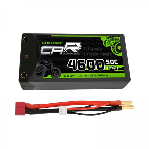 Ovonic 2S 4600mAh 7.4V 50C Hardcase Short LiPo Battery with 4mm Bullet for 1/10 RC Buggy - Ovonicshop