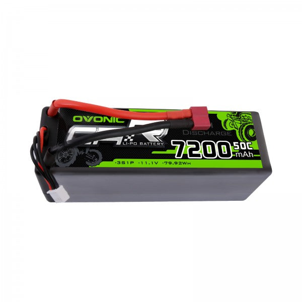 OVONIC 7200mAh 3S 11.1V 50C LiPo Batteries Pack with Deans Plug for 1/8 1/10 Size RC Car
