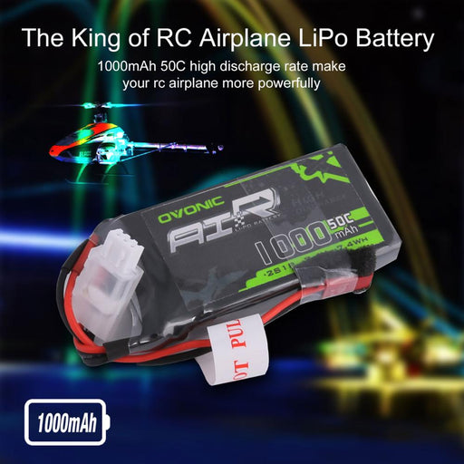 Ovonic 50C 7.4V 2S 1000mAh LiPo Battery Pack with JST Plug for RC Airplane Small Helicopter (2 packs)