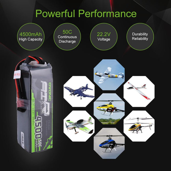 Ovonic 22.2V 50C 6S 4500mAh LiPo Battery Pack with T Plug for Heli Drone Plane