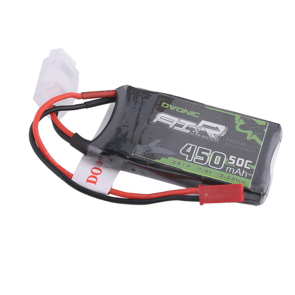 OVONIC 50C 7.4V 2S 450mah LiPo Battery Pack for RC Heli Tiny Airplane [2-Pack ]