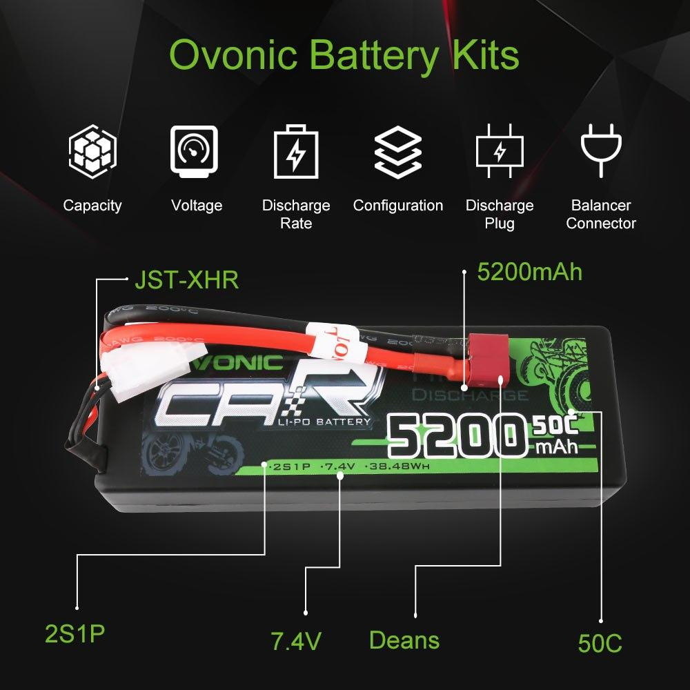 OVONIC 5200mAh 2S 7.4V 50C Hardcase Lipo Batteries Pack for 1:8 1:10 RC Car