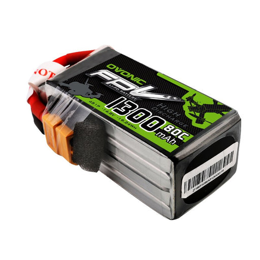 OVONIC 1300mAh 4S 14.8V 80C LiPo Battery with XT60 Plug for FPV