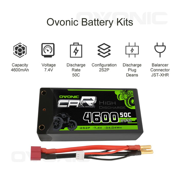 Ovonic 2S 4600mAh 7.4V 50C Hardcase Short LiPo Battery with 4mm Bullet for 1/10 RC Buggy