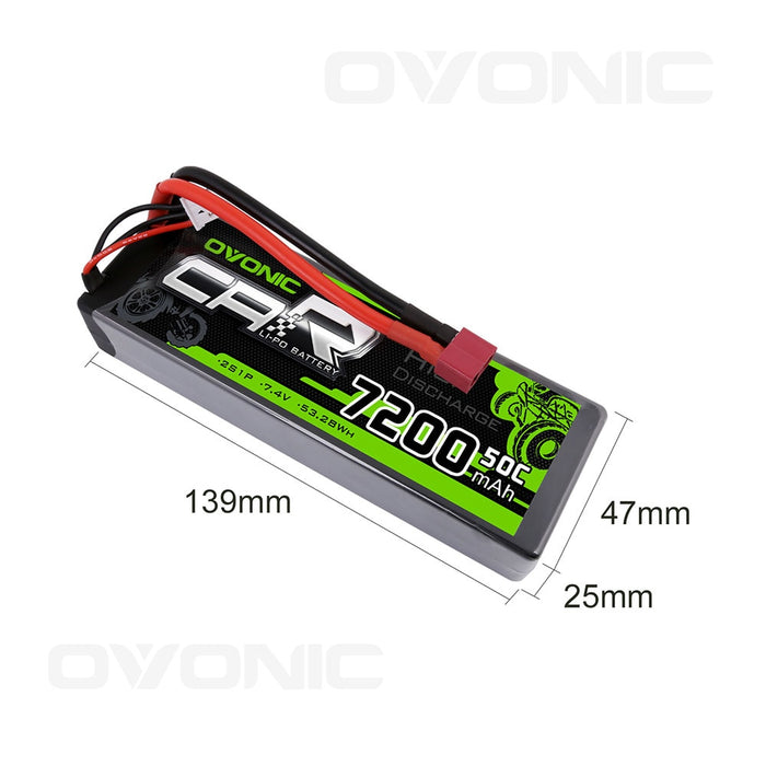 OVONIC 7200mAh 2S 7.4V LiPo Batteries Pack with Deans Plug for 1/8 1/10 Size RC Car - Ovonicshop