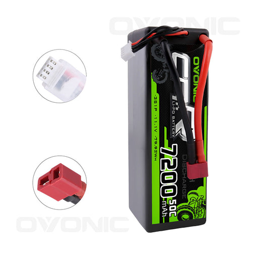 OVONIC 7200mAh 3S 11.1V 50C LiPo Batteries Pack with Deans Plug for 1/8 1/10 Size RC Car - Ovonicshop
