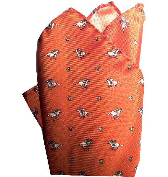 Riding Derby Pocket Square (Orange)