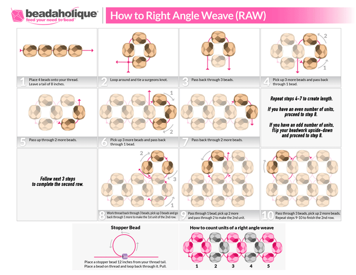 Right Angle Weave Stitch Bead Weaving Patterns