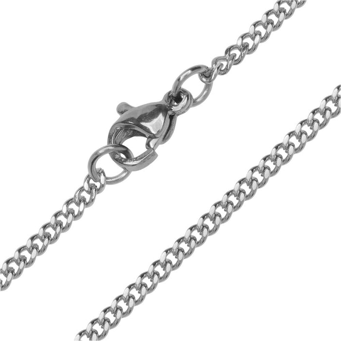 Finished Flat Curb Chain Necklace, 2mm Links with Lobster Clasp, 20 Inches, Stainless Steel