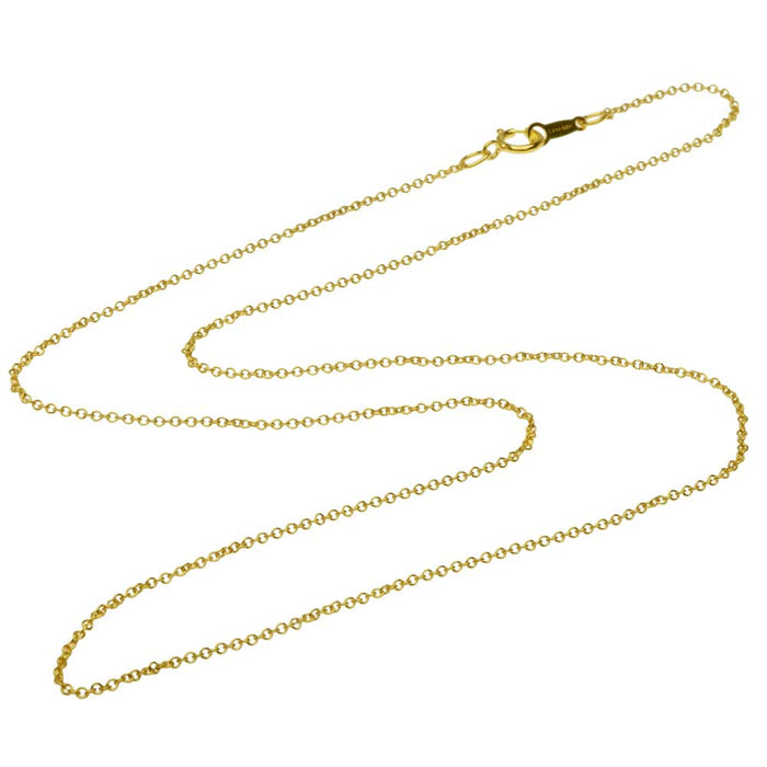 Finished Cable Chain Necklace, 1.2x1mm Oval Links with Spring Ring Clasp, 18 Inches, 14K Gold Filled