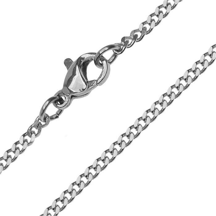 Finished Flat Curb Chain Necklace, 2mm Links with Lobster Clasp, 18 Inches, Stainless Steel