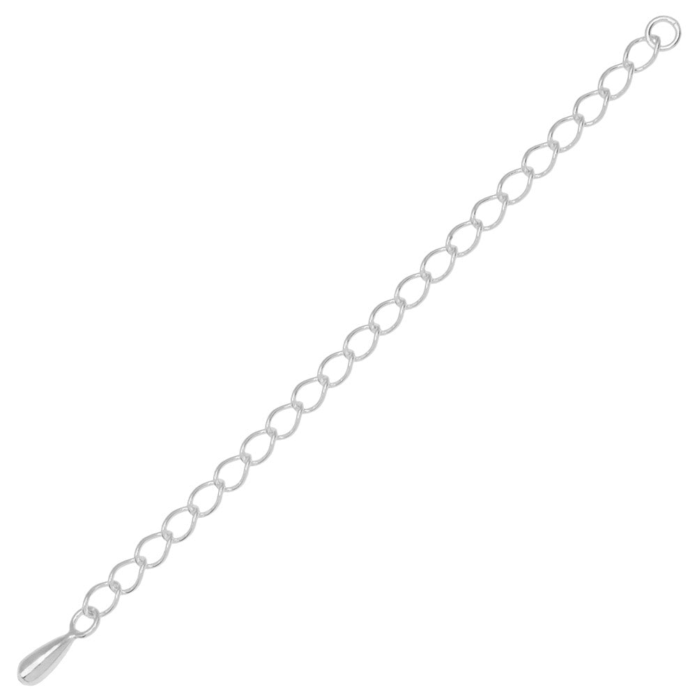 Sterling Silver 3mm Curb Chain Necklace Extender With Teardrop End-- 3 Inches (1)